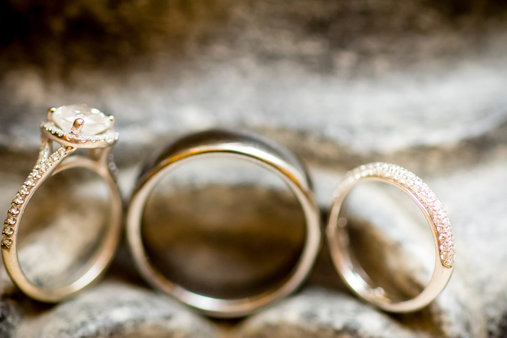 I love a good halo!  Engagement Ring & Wedding Bands.    Wedding Venue:  Bellagio Las Vegas.   Photo by  www.ronmiller.com .  Las Vegas Wedding Planner:  Andrea Eppolito Events