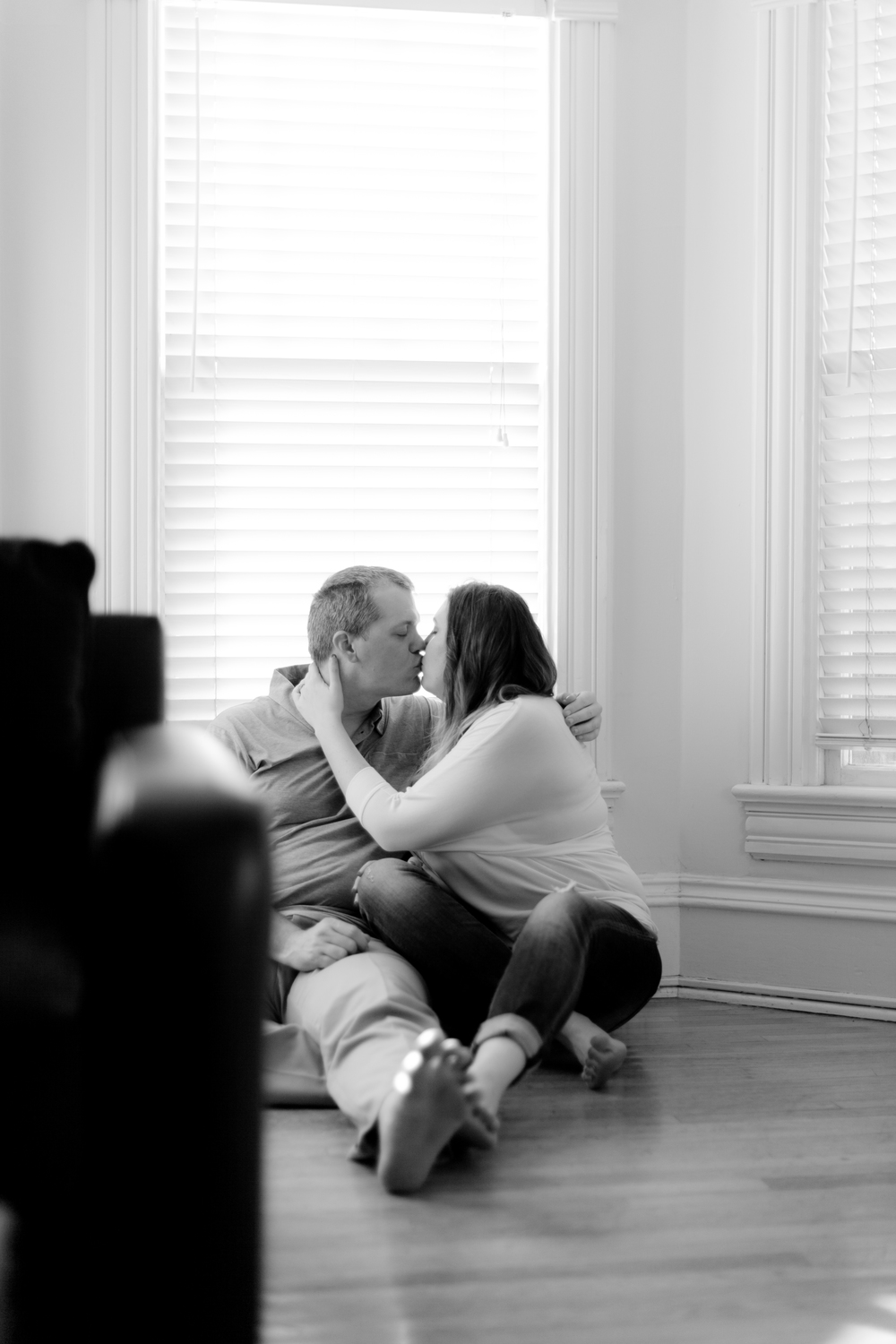 Engagement Photos taken at home always feel soft and intimate.  Photo by Burlap and Blossom.