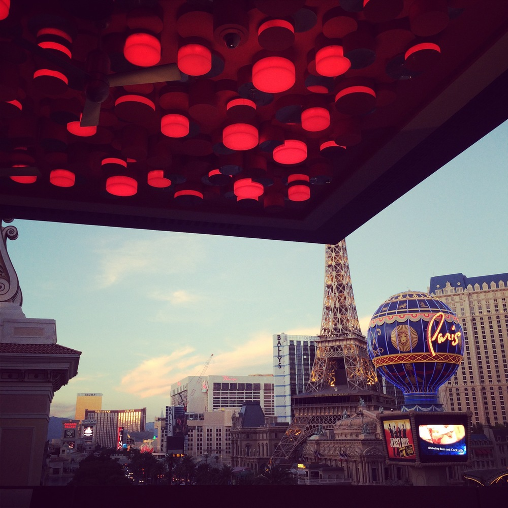 CommeCa Las Vegas at the Cosmopolitan served as the perfect location for the Rehearsal Dinner.  We started with a seated tasting menu and wine pairing for 40 guests, and then opened the patio and welcomed over 100 friends and family to the space.  And in the distance...The Flamingo.  Photo Courtesy of  Andrea Eppolito's Instagram .