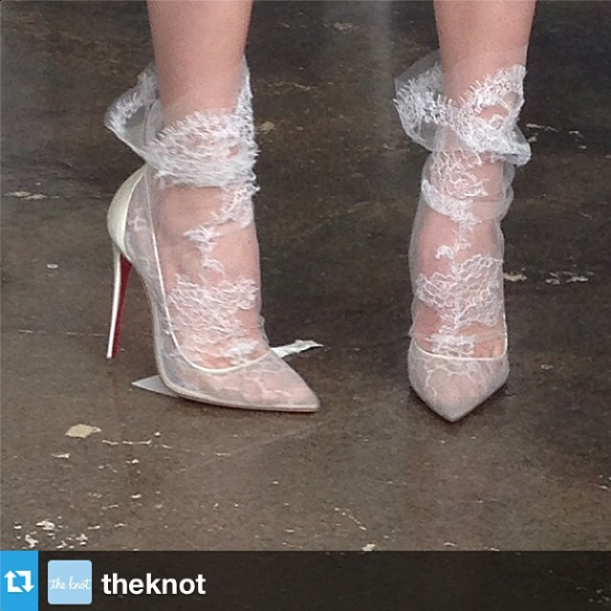 From  The Knot :   Dreamy   @louboutinworld  #shoes   on one of the models at   @marchesafashion  ! We want these!   #louboutin     #bridalfashionweek  #bridalmarket