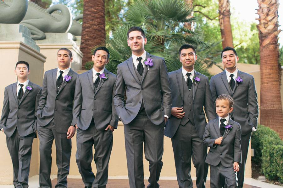 In The Groom's Corner - Grey Tuxes by Vera Wang.    Las Vegas Wedding Planner  Andrea Eppolito .  Wedding at  Four Seasons .  Photography by  Meg Ruth .  Floral and Decor by  Naakiti Floral .