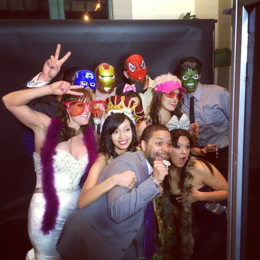 Photo Booth!  People loved the energy of the open booth.  And those super hero masks are ALWAYS a hit! Photo by Andrea Eppolito. Las Vegas Wedding Planner Andrea Eppolito | Las Vegas Venue: Siena Golf Course