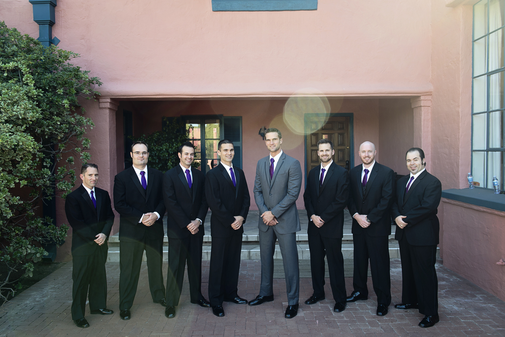Groomsmen gathering around Brian at the couple's bridal casita.   Destination Wedding Planner:   Andrea Eppolito Events   |  Historical Wedding Venue:   The Arizona Inn   |  Photography:  Raylene Streuber  |