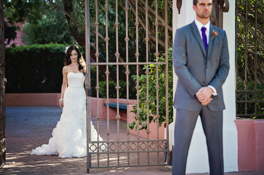 The First Look.    Destination Wedding Planner:   Andrea Eppolito Events   |  Historical Wedding Venue:   The Arizona Inn   |  Photography:  Raylene Streuber