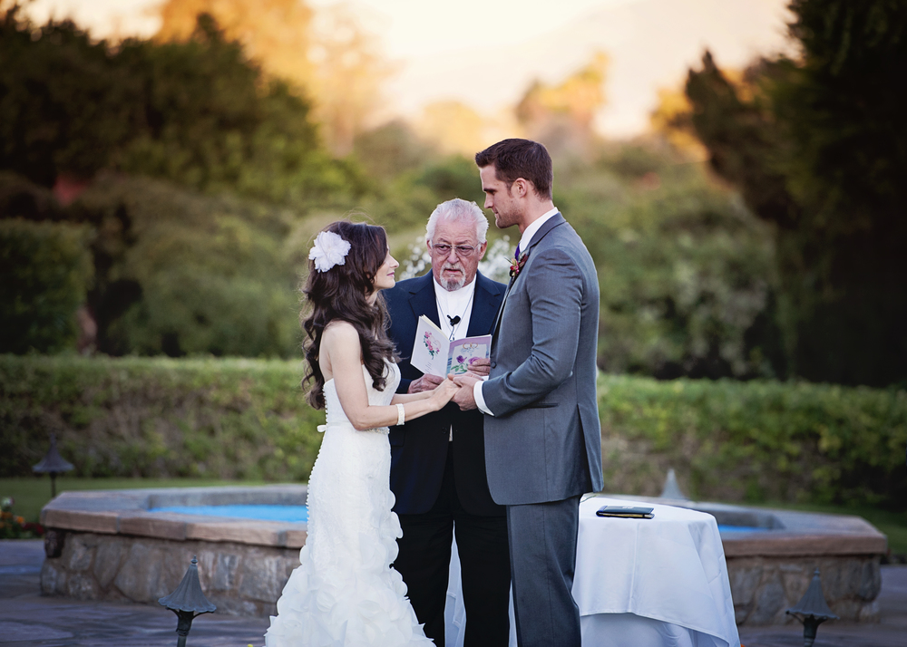 Wedding Ceremony at the Arizona Inn.   Destination Wedding Planner:   Andrea Eppolito Events   |  Historical Wedding Venue:   The Arizona Inn   |  Photography:  Raylene Streuber