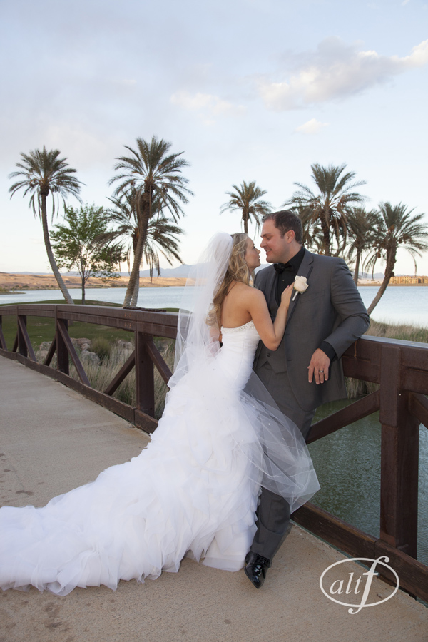 Wedding Portraits on a Bridge at Lake Las Vegas