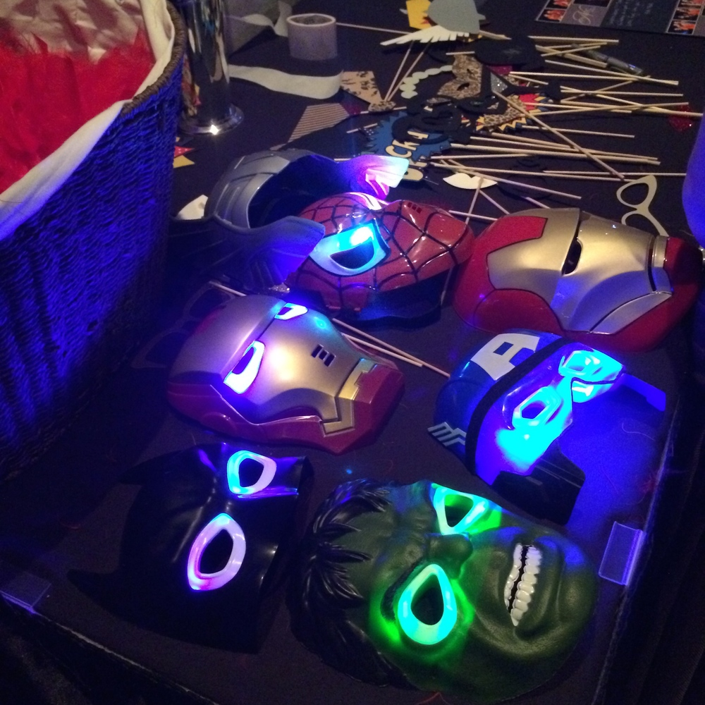 LED Super Hero Mask Photo Booth Props
