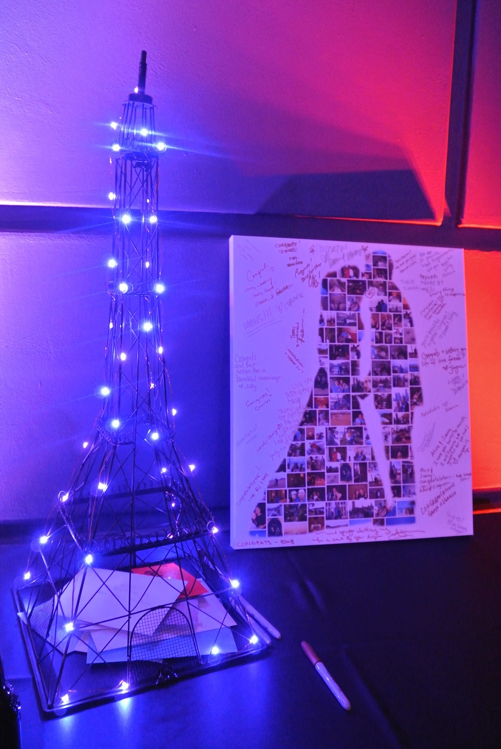 Thank you to everyone who came and celebrated with us!  Lit Eiffel Tower Card collector, and collage sign in canvas.  Photo by Las Vegas Wedding Planner Andrea Eppolito.