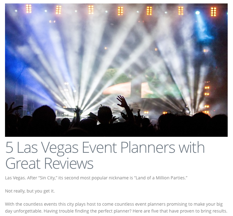 Thank you to www.TheDrinkInk.com for listing me as one of the top Las Vegas Event Planners!