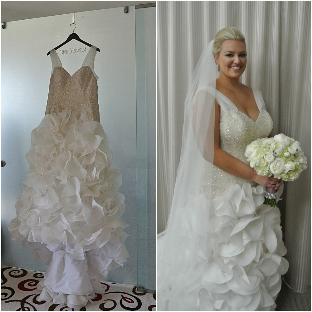 Bride Hayley worked closely with Mina Olive designer Megan to create a customized, one of a kind wedding dress that hugged her every curve and played up her femininity.    Las Vegas Wedding Planner Andrea Eppolito  |  Wedding at Keep Memory Alive Center  |  Floral and Decor by Naakiti Floral  |  Wedding Dress: Mina Olive