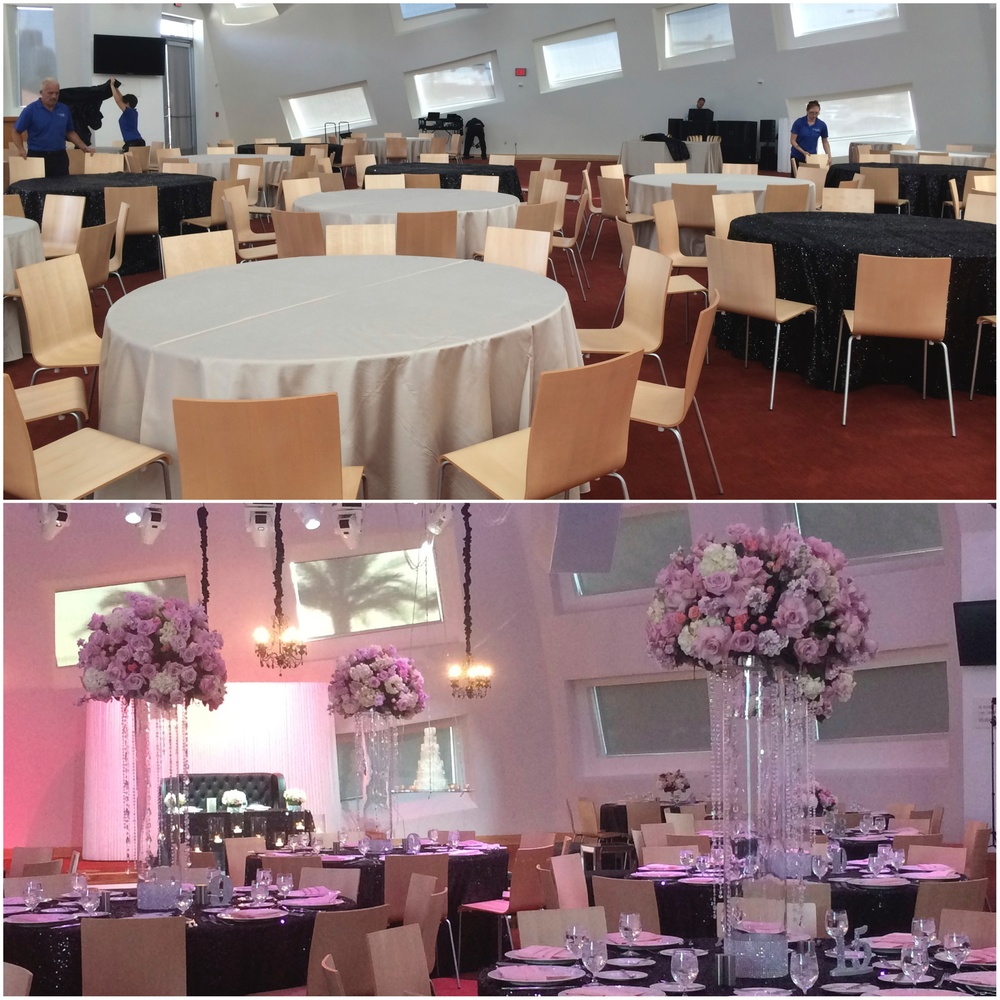 Before and After...The team at KMAC and Naakiti Floral took a blank canvas and painted it pink and black to create the space of Hayley & Bryan's dreams.