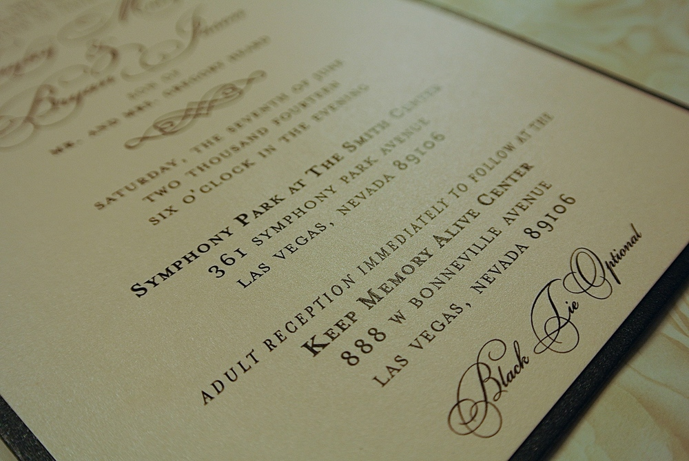 The Invitation.  Las Vegas Wedding Planner Andrea Eppolito  |  Stationary by Paper & Home