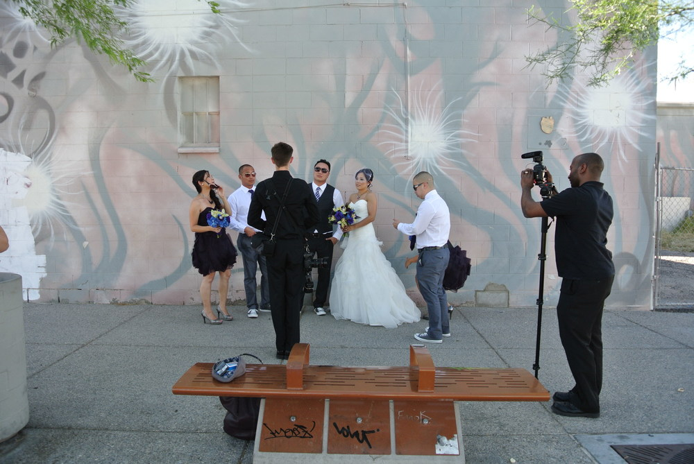 Las Vegas Wedding Photographer  Adam Frazier  and Las Vegas Videographer Terrence Lighten of  Lighten Films  setting up the shot!  From the wedding of Alice & Jimmy Wu.