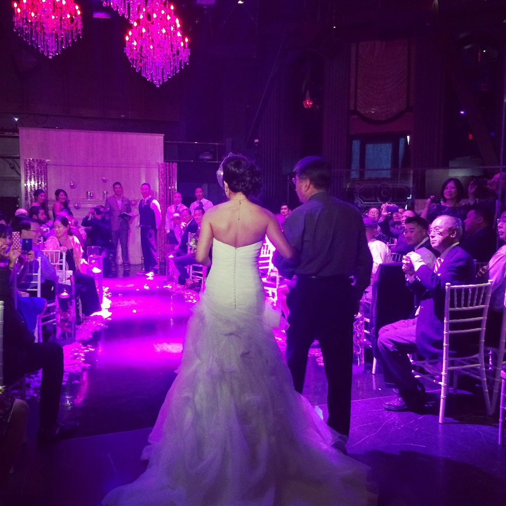 Walking down the aisle at Chateau Nightclub & Gardens.  From the wedding of Alice & Jimmy Wu.