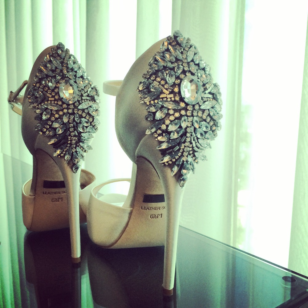 My behind the scenes shot of Halona Bernard's Badgley Mischka bridal shoes.  Halona Grimes Bernard.  July 2014.  Photo by Las Vegas Wedding Planner Andrea Eppolito.