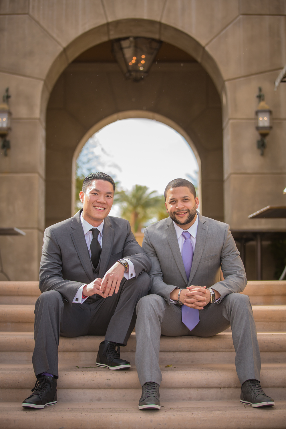 Michael and his best man were dapper in their grey suits.   Las Vegas Wedding at Siena Golf Club  |  Photography by Ella Gagiano  |  Las Wedding Planner Andrea Eppolito