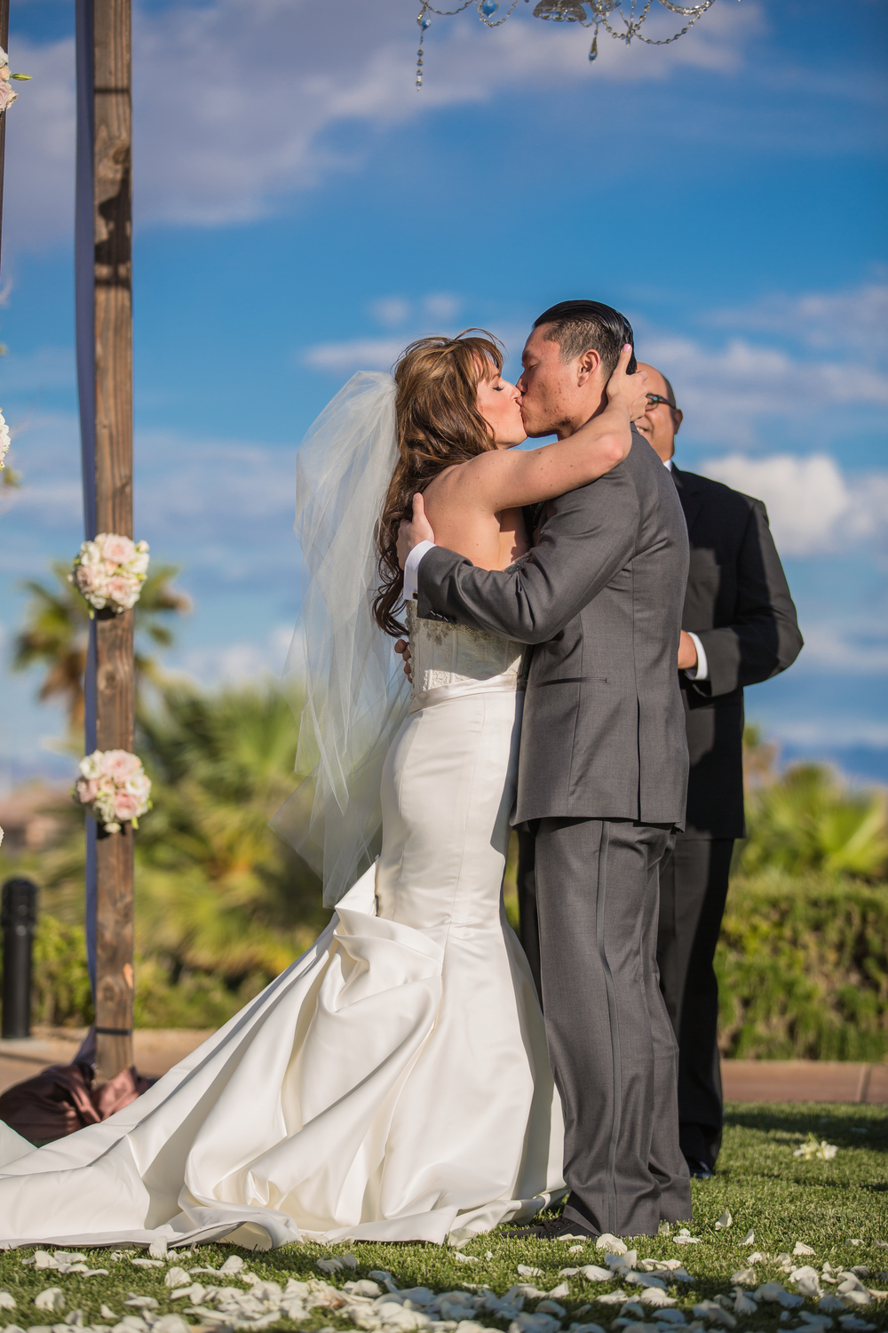 The First Kiss! Las Vegas Wedding at Siena Golf Club  |  Photography by Ella Gagiano  |  Floral and Decor by Naakiti Floral  |  Las Wedding Planner Andrea Eppolito