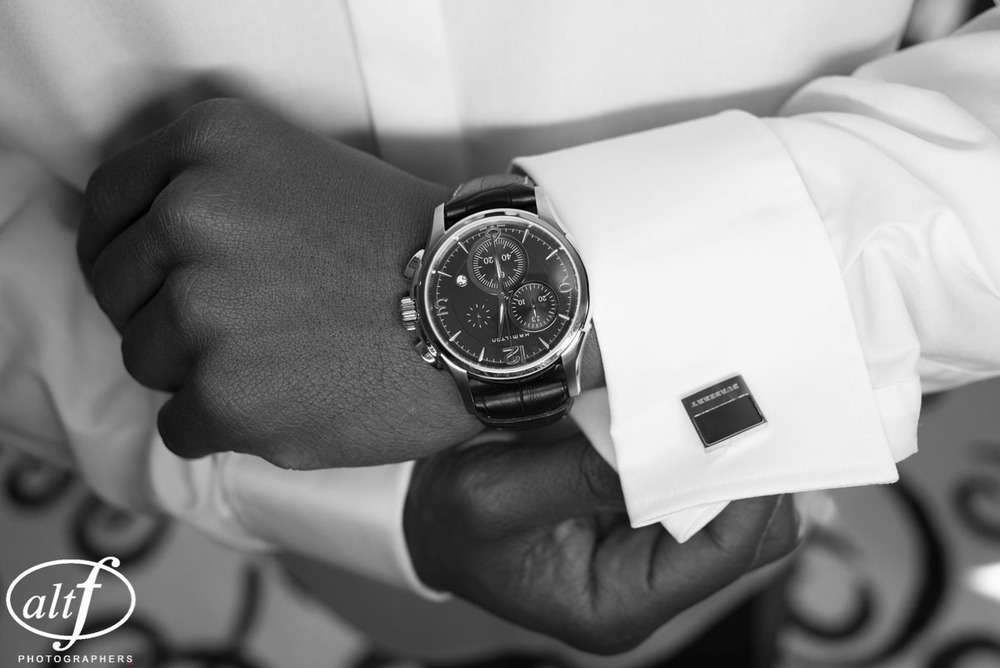 Groom's Cufflinks and Watch. Black and white wedding details at a luxury wedding in Las Vegas.