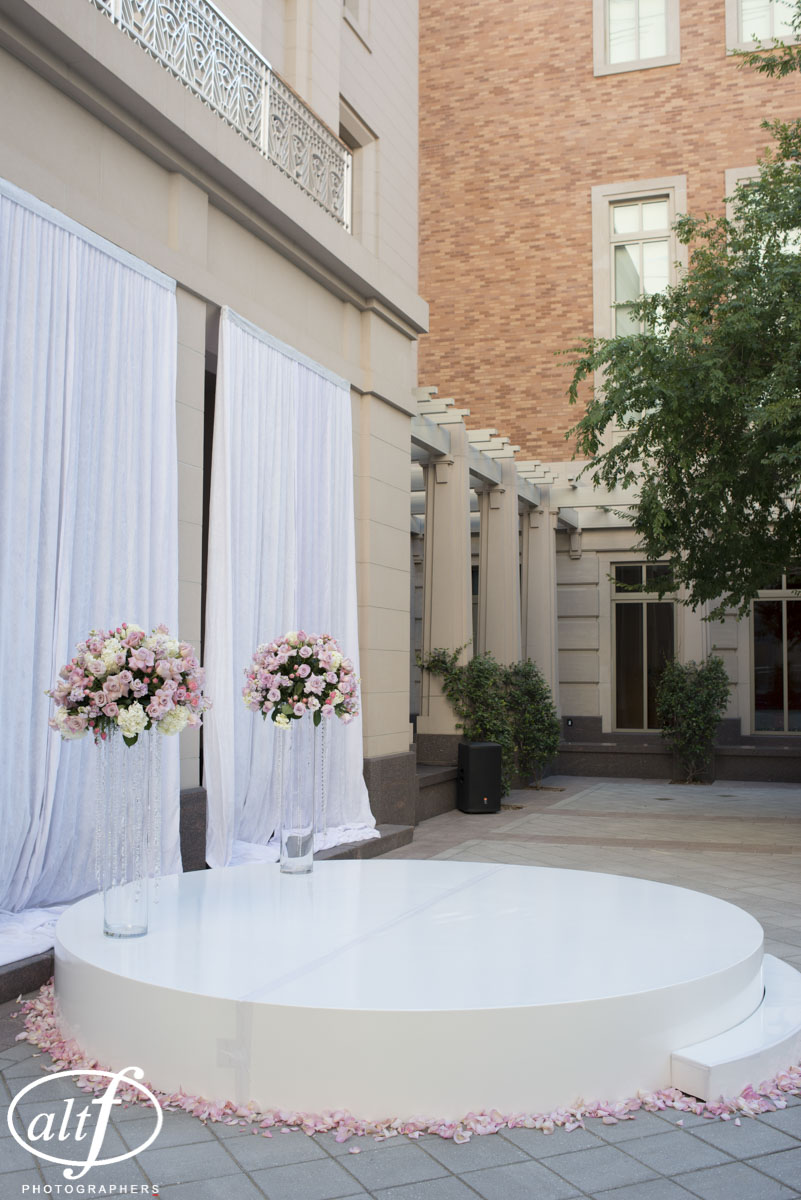 Circular Stage Platform for luxury Las Vegas wedding at The Smith Center.