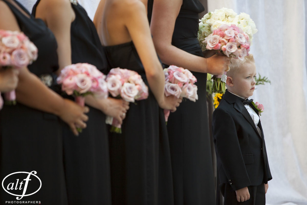 Pink Bouquets and Black Bridesmaid Dresses