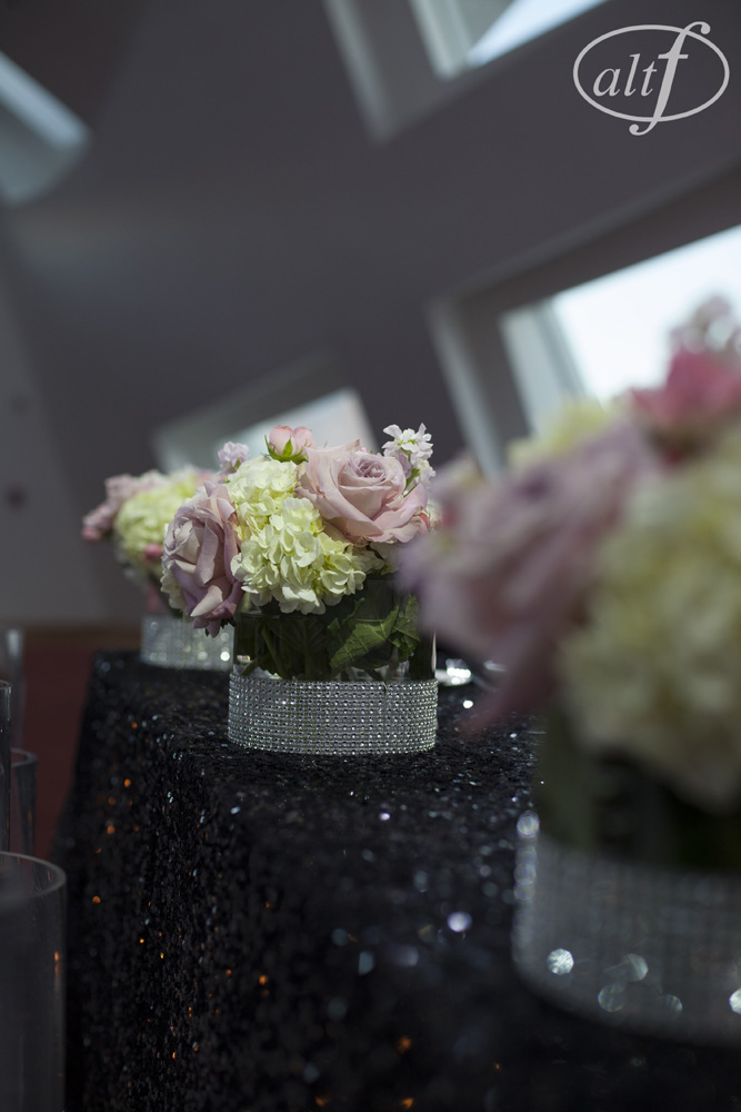 Pink and Black Wedding with Sequence Table Cloths.