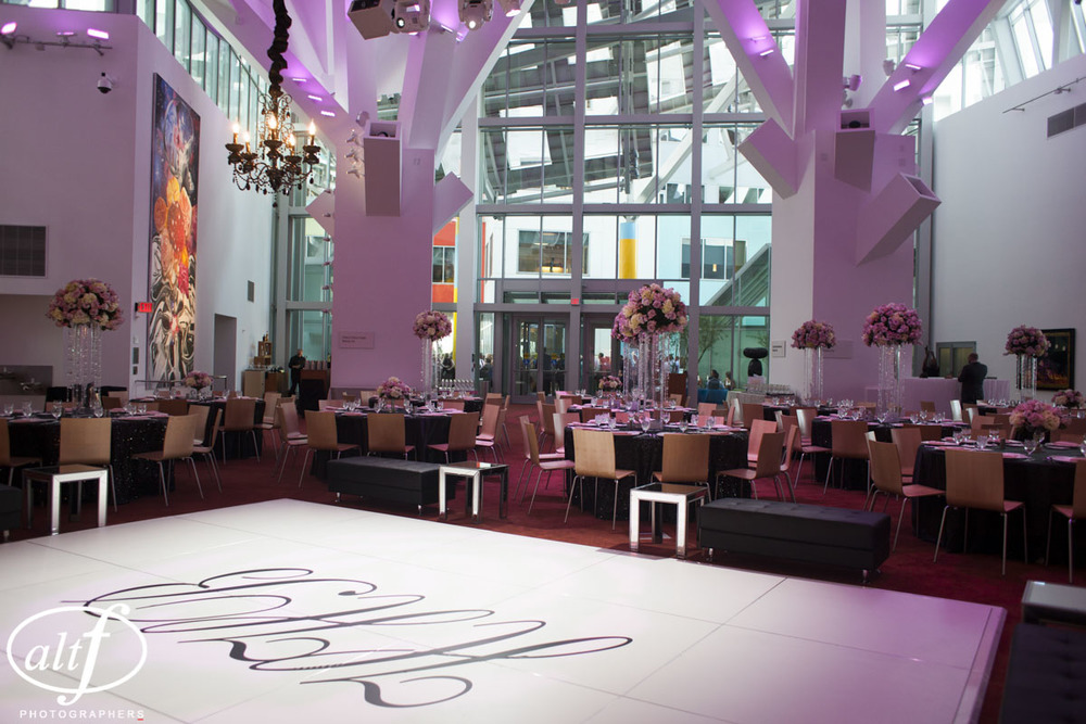 White Monogramed Dance Floor at Luxury Las Vegas Wedding at Keep Memory Alive Center.
