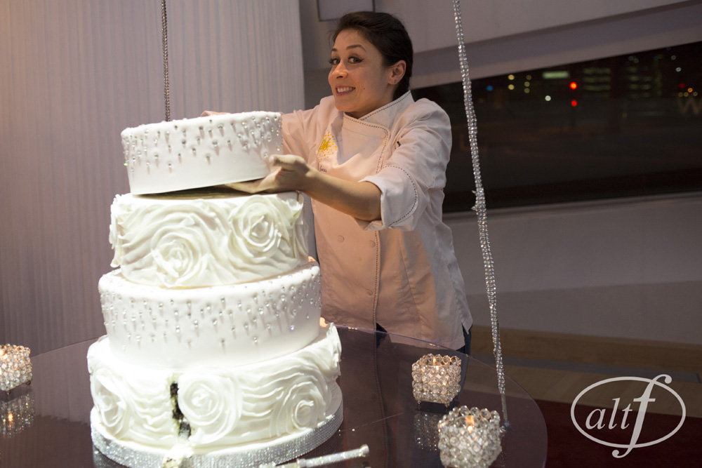 The 7 tiered wedding cake required a professional pastry chef to cut and serve it. Las Vegas Luxury Wedding. Wedding Cake by Peridot Sweets.