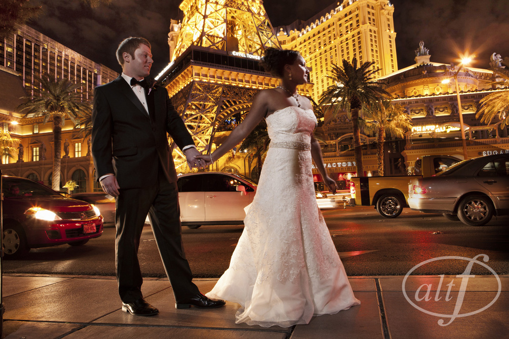Featured on Alt F & Earth13.com:   When Kaitrin fell in love with Jason, she also fell in love with his religion!  After converting, they decided to host a traditional Jewish wedding at The Bellagio Las Vegas.  The couple's classic sense of style is on full display, along with a lot of purple detail!   Wedding at  Bellagio Las Vegas   |  Photography by  www.altf.com .  |  Florals & Decor by  Naakiti Floral   |  Las Vegas Wedding Planner  Andrea Eppolito