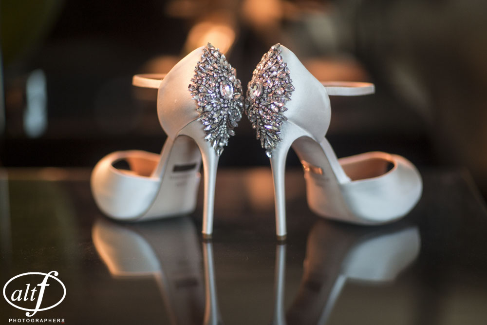 Wedding shoes by Badgley Mischka.  Las Vegas Celebrity Wedding Planner: Andrea Eppolito  Venue:  Wedding at the Four Seasons Las Vegas