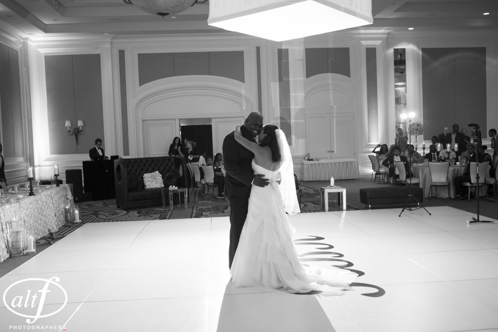 First Dance at The Four Seasons Las Vegas.  White Monogrammed Dance Floor.  Las Vegas Wedding Planner Andrea Eppolito.