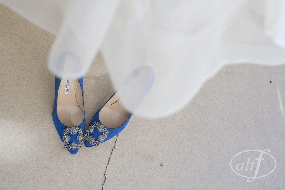 Vera Wang and Blue Shoes...Absolutely perfect!  Rebecca Beaumont.  October 2014. Photo by Alt F Photography.