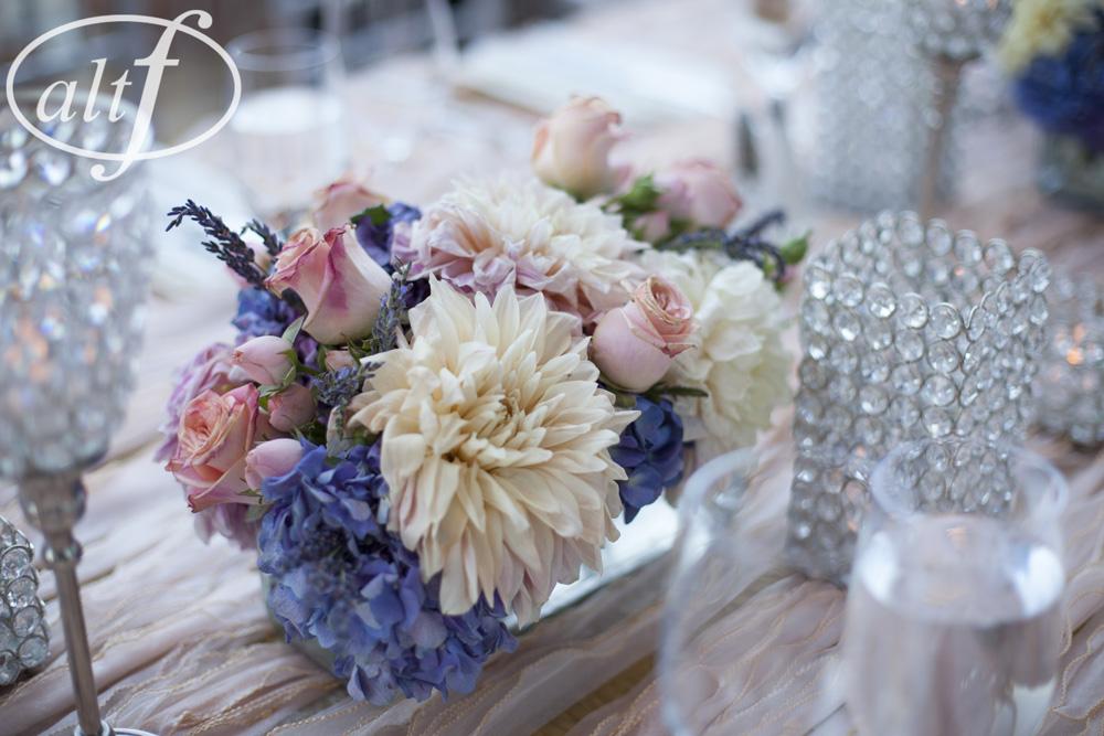 Low Pink and Purple Centerpieces