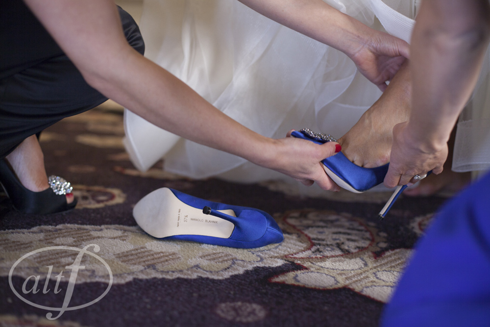 Cinderella Moment for the Bride with Blue Shoes