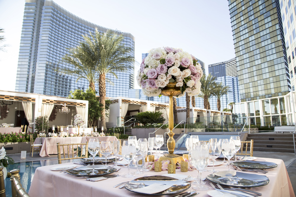 Wedding on the Pool Deck of the Mandarin Oriental.  Floral and Decor by Naakiti.   Jess & Juan Graham.  September 2014.  Photo by     Best Wedding Photos of the Year 2014.
