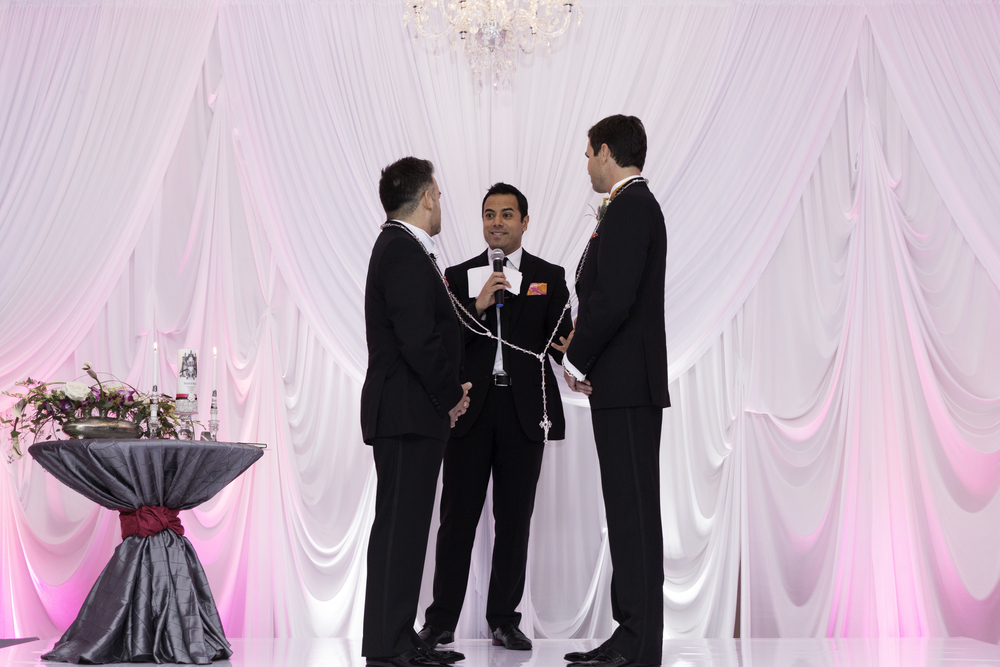 During the ceremony, which was presided over by the couple's dear friend Chris Saldana, the grooms were wrapped in a crystal lasso by Rocco's parents, literally binding them together.   Destination Wedding Planner Andrea Eppolito  |  Photo by Antonio Abrego | Gay Weddings