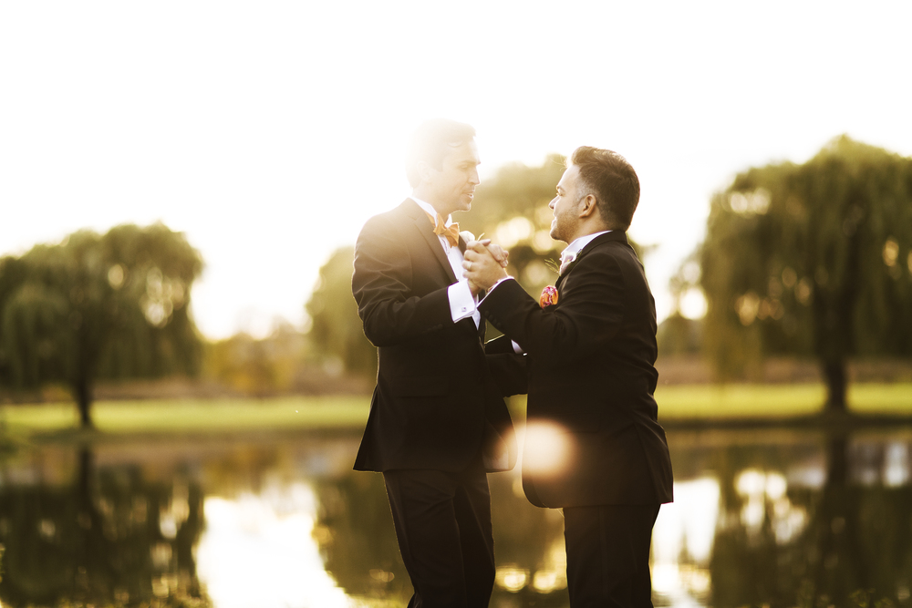 In a private moment alone, and perhaps to calm their nerves, Rocco & Marek practiced their first dance as two singles before becoming husbands. Destination Wedding Planner Andrea Eppolito  |  Photo by Antonio Abrego | Gay Weddings