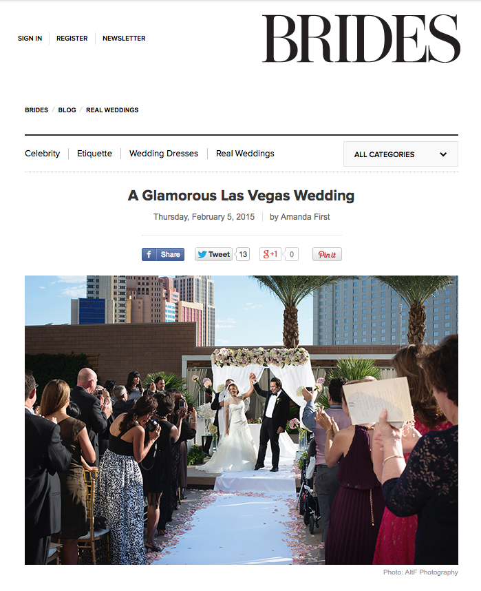 This Real Wedding Feature on Brides.com showcases the stunning Mandarin Oriental Las Vegas, with floral and decor by Naakiti Floral.  Images by John Michael Cooper and Dalisa Cooper of Altf Photography.