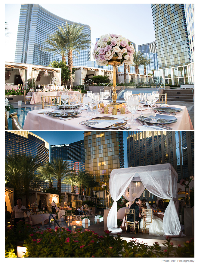 This Real Wedding Feature on  Brides.com  showcases the stunning Mandarin Oriental Las Vegas, with floral and decor by  Naakiti Floral .  Images by John Michael Cooper and Dalisa Cooper of  Altf Photography.