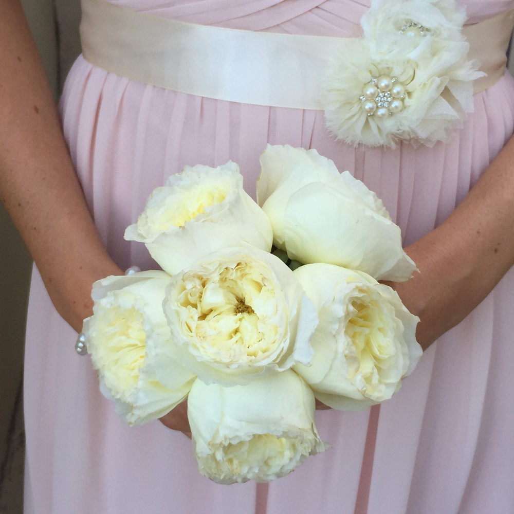 Bridesmaids wore pale pink dresses accented with ivory and pearl sashes.  Garden Roses were perfect for their bouquets.