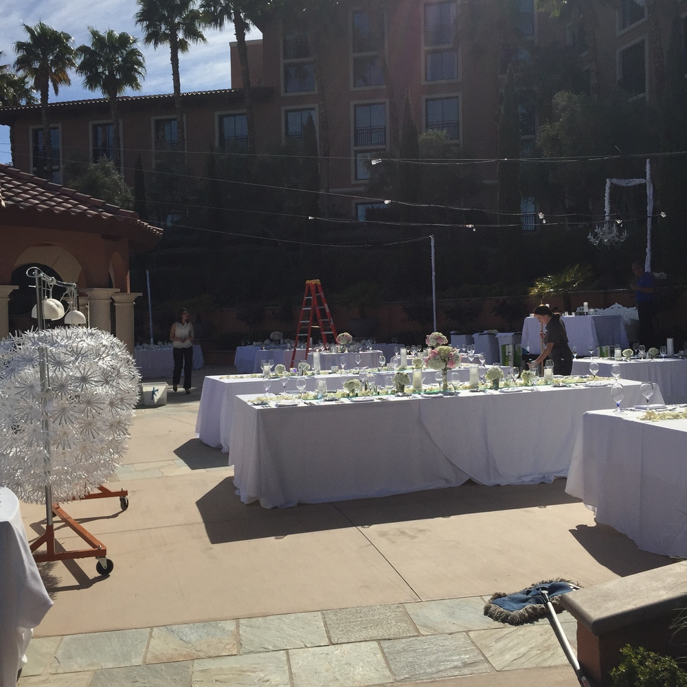 During the ceremony our teams from The Westin Lake Las Vegas and Naakiti Floral were hard at work setting up tables, steaming linens, hanging lights, and draping the gazebo.
