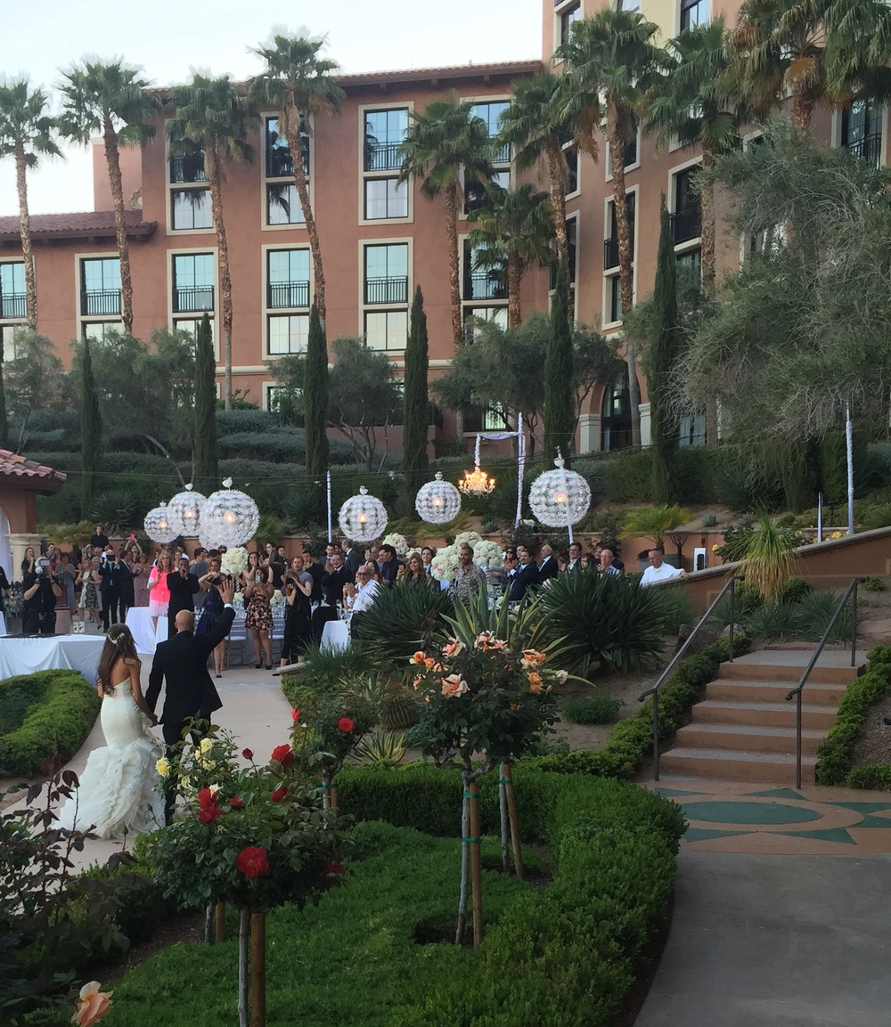 The Westin Lake Las Vegas is a goregous setting for garden weddings.  Those big white lights were just stunning and so romantic.