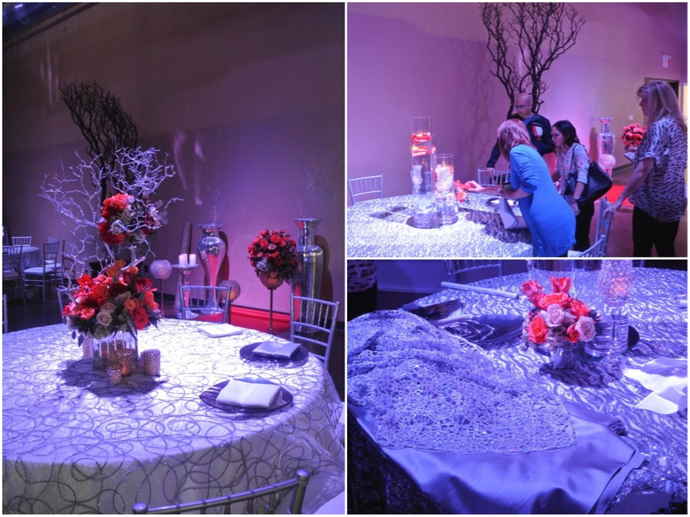 Initially, we started with a brighter white underlay and vibrant pops of reds and oranges.  Pulling florals, resetting lighting, and adjusting groups lead to three spite tables capes with three unique feels.  All in a days work at DBD Vegas!