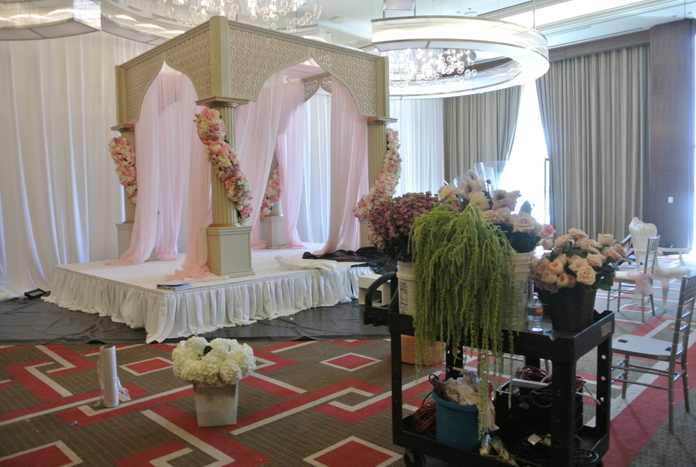 Behind the scenes at Patricia & Snehal's wedding weekend at The Mandarin Oriental Las Vegas.  Decor installation by DBD Vegas.