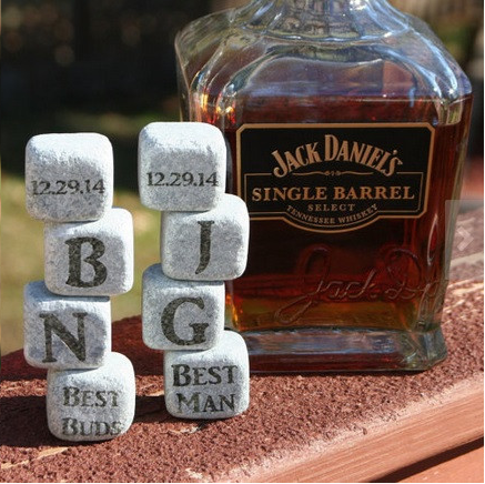 As a whiskey drinker myself, I love these Whiskey Stones!  They chill your drink without watering it down.  Genius!  Photo courtesy of The Groovy Groomsmen Gifts.com.