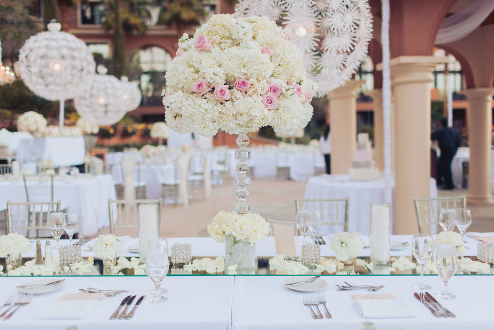 Lux Table Decor and Wedding Centerpieces.    Las Vegas Wedding Planner Andrea Eppolito  |  Wedding at Lake Las Vegas  | White and Blu  sh and Grey Wedding | Luxury Wedding Las Vegas