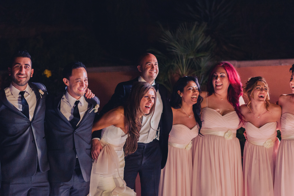 The bridal party on the dance floor.   Las Vegas Wedding Planner Andrea Eppolito  |  Wedding at Lake Las Vegas  | White and Blu  sh and Grey Wedding | Luxury Wedding Las Vegas