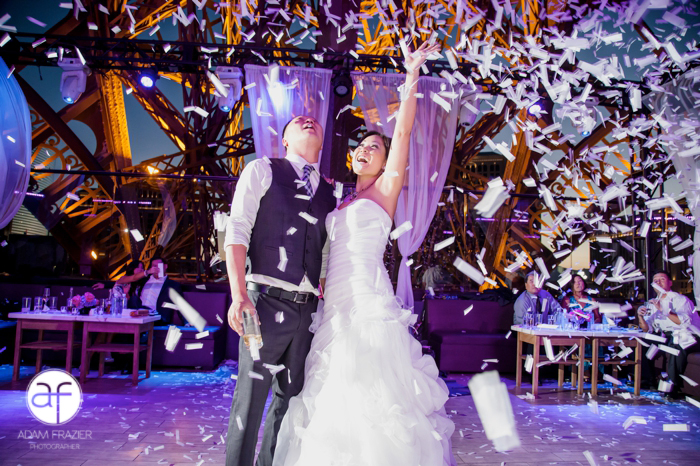 Alice and Jimmy hosted their wedding at Chateau Nightclub and Gardens at The Paris Hotel on May 31, 2014.  We surprised them and their guests with a confetti explosion!