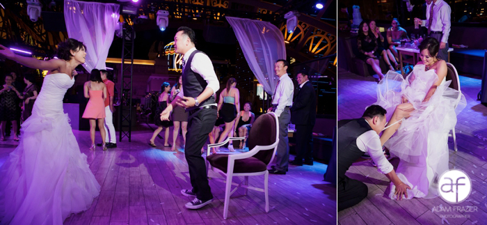 Removing the garter at a Las Vegas Wedding at The Paris