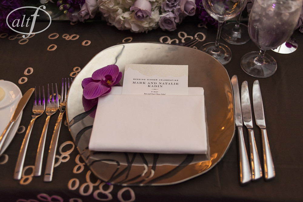 Printed Menus and Floral Accents