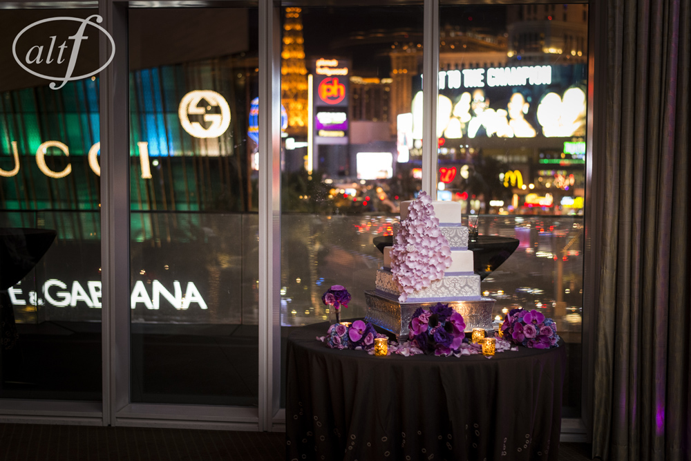 Lavender and Purple Wedding Cake at the Mandarin Oriental